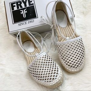 FRYE Leo Perforated Ankle Wrap Espadrille Flats